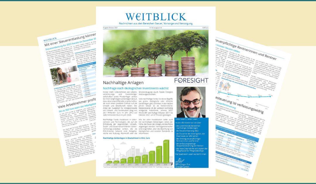 Vorsorgungsjournal W€ITBLICK (Ausgabe Oktober)